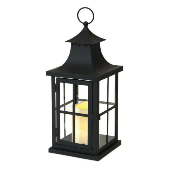 Asian Inspired Iron Lantern with LED Flameless Pillar Candle by Bloomsbury Market