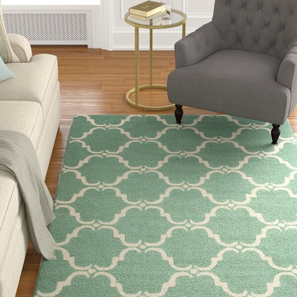 Tufted Wool Teal/Ivory Area Rug by Birch Lane™