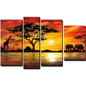'Modern African Landscape' 4 Piece Painting on Canvas Set by World Menagerie