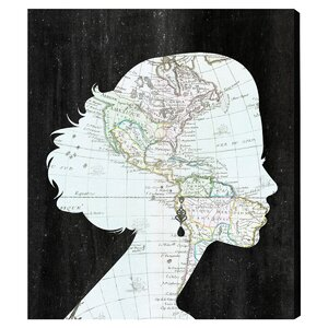 The World Travel Girl Graphic Art on Wrapped Canvas by Mercury Row