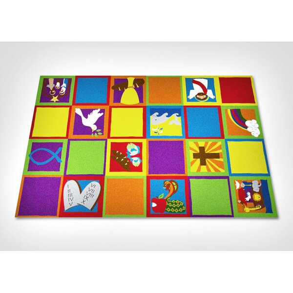 Christian Squares Sunday School Area Rug by Kid Carpet