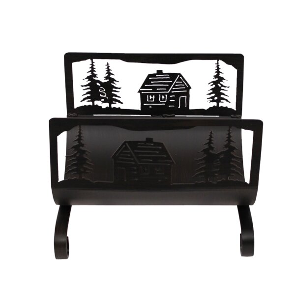 Cabin Scene Holder Steel Log Carrier by Coast Lamp Mfg.