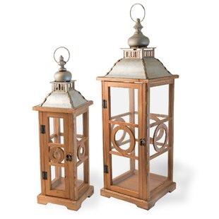 Best Price 2 Piece Wood Lantern Set By Bloomsbury Market