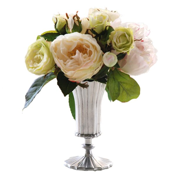 Rose and Peony Floral Arrangement in Decorative Vase by Jane Seymour Botanicals