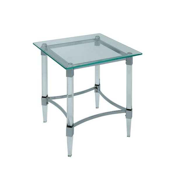 Missouri Contemporary Glass Top Square End Table by Rosdorf Park