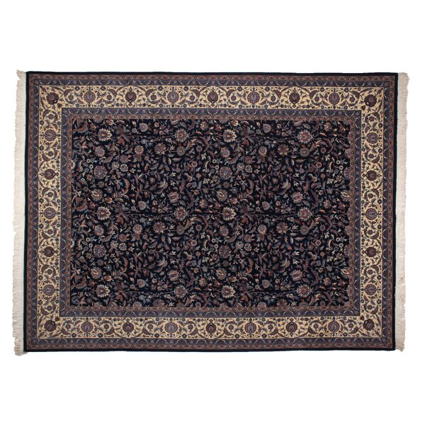 One-of-a-Kind Super Fine Hand-Woven Wool Blue/Brown Area Rug by Exquisite Rugs