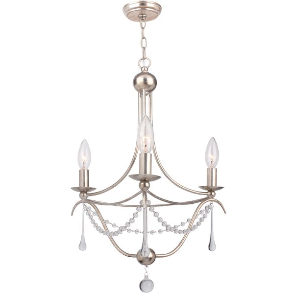 Braden 3 - Light Candle Style Empire Chandelier with Beaded Accents by House of Hampton House of Hampton