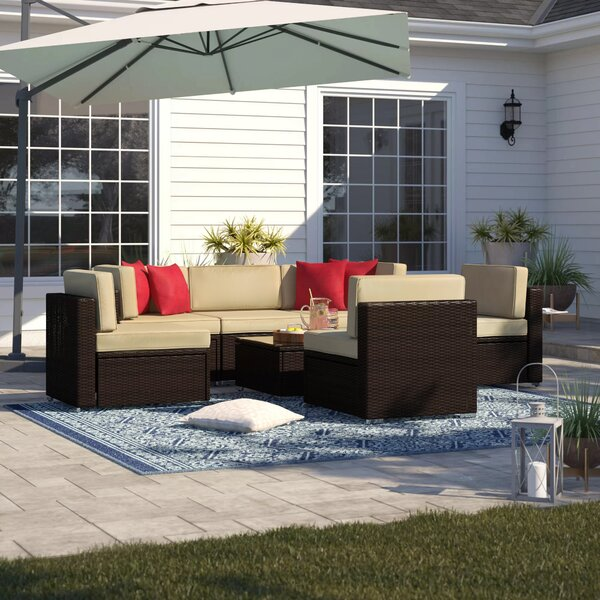 Carmelo 7 Piece Rattan Sectional Seating Group with Cushions by Sol 72 Outdoor