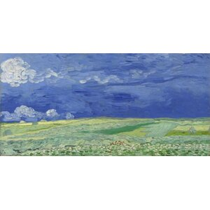 'Wheat Field Under Clouded Sky,1890' by Vincent Van Gogh Painting Print on Wrapped Canvas by Buy Art For Less