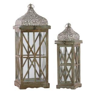 2 Piece Wood/Metal Lantern Set