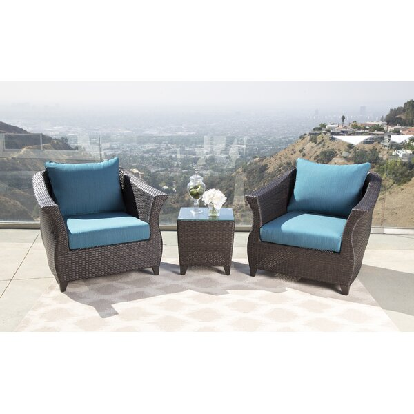 Lemanski Sunbrella Blue Outdoor Wicker Patio Chair by Latitude Run