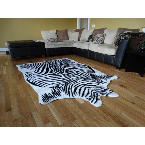 Chanler Black/White Zebra Fur Area Rug by Bloomsbury Market