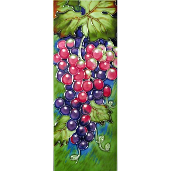 6 x 16 Ceramic Grapes (Vertical) Decorative Mural Tile in Green/Purple by Continental Art Center