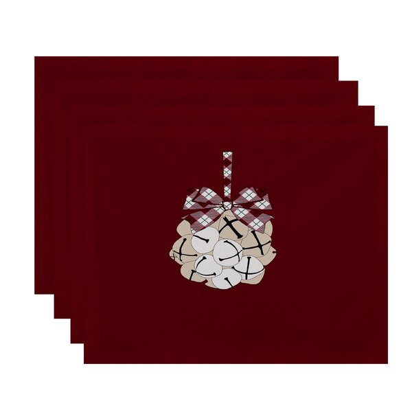 Holiday Jingle Bells Geometric Print Placemat (Set of 4) by Three Posts