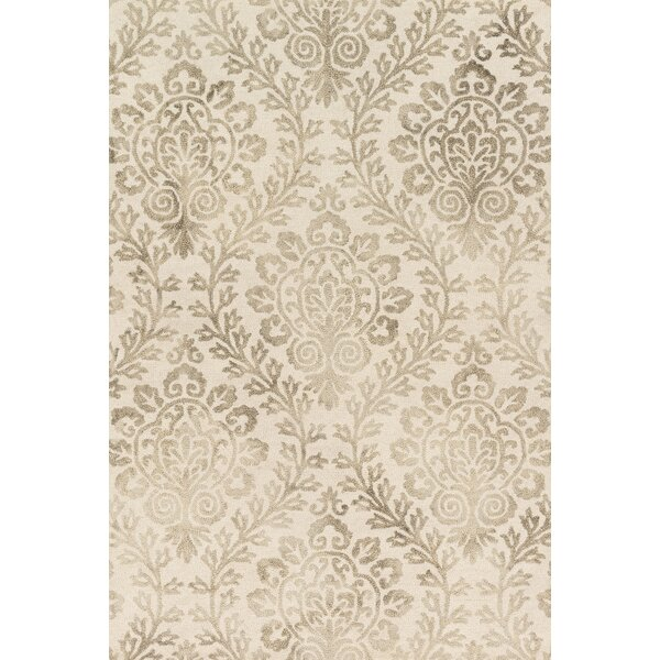Kirsch Hand-Hooked Stone Area Rug by Charlton Home