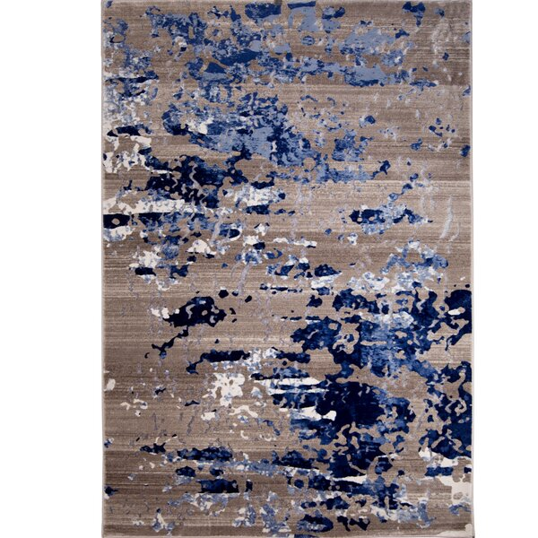 Daly Beige/Blue Area Rug by Mercury Row