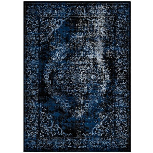 Orman Rustic Vintage Ornate Floral Morrocan Blue/Light Blue Area Rug by Bungalow Rose