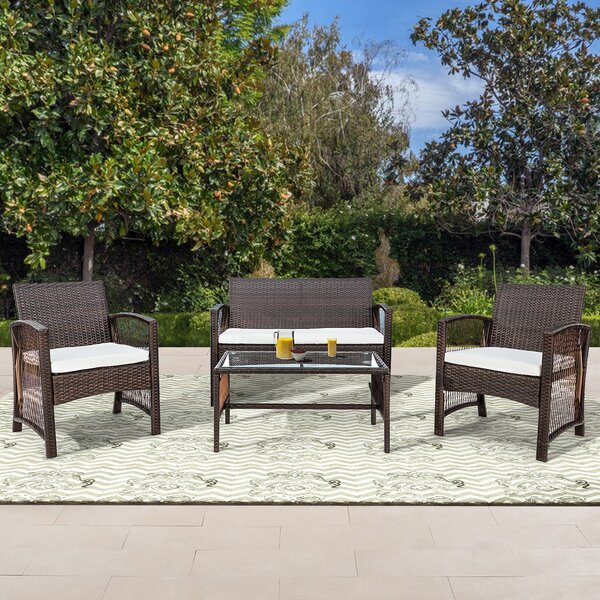 Uniontown 4 Piece Rattan Sofa Seating Group By Rosecliff Heights