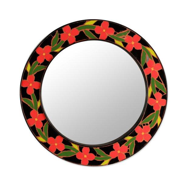Tangerine Blossoms Handmade Ceramic Mosaic Wall Mirror by Novica