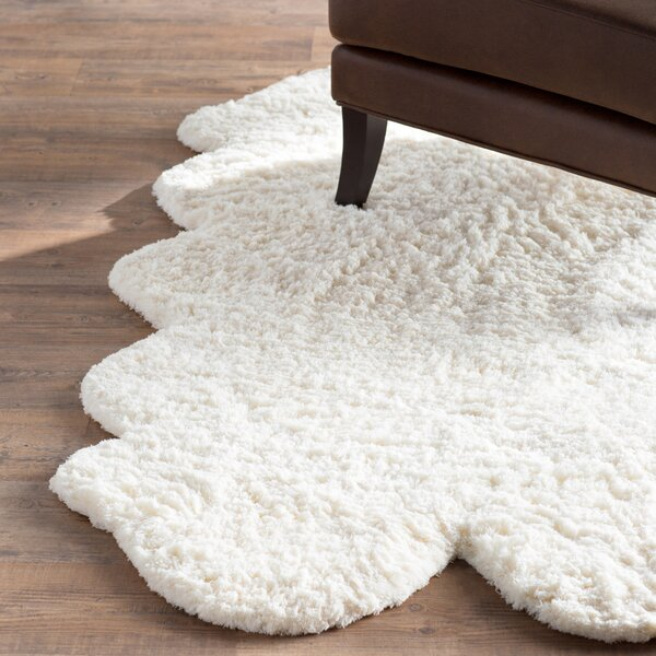 Mclennan Pelt Hand-Woven Faux Fur White Area Rug by Three Posts
