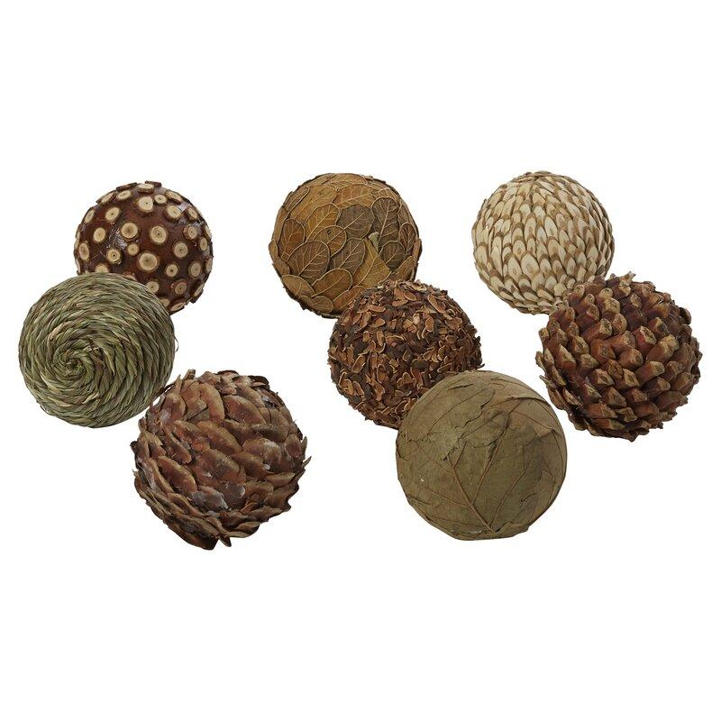 Three posts autumnal 8 piece natural ball sculpture set for Decor 8 piece lunch set
