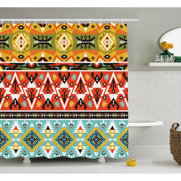 Claire Tribal Love and Adventure Abstract Mountains Pattern With Aztec Indian Art Shower Curtain by Ebern Designs