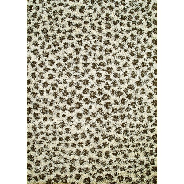 Shaggy Leopard Ivory Area Rug by Threadbind