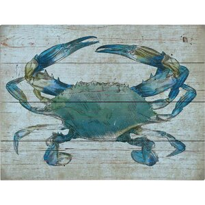 'Crab' Graphic Art Print on Wood by Beachcrest Home