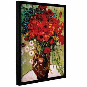 Dasies and Poppies by Vincent Van Gogh Framed Painting Print on Wrapped Canvas by ArtWall