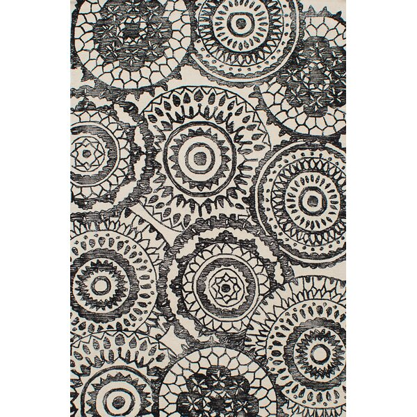 One-of-a-Kind Mailiah Hand-Tufted Wool Black/Cream Area Rug by Isabelline