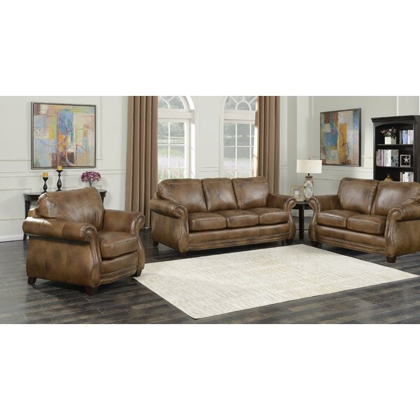 Simone 3 Piece Leather Living Room Set by Fleur De Lis Living