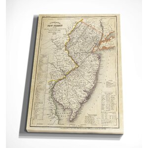 'Vintage Map New Jersey II' Graphic Art Print on Wrapped Canvas by Wexford Home