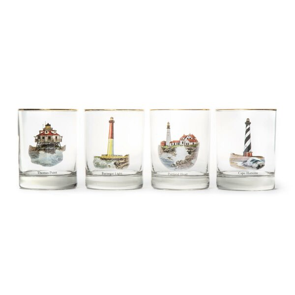 Light House Double 14 Oz. Old Fashioned Glass (Set of 4) by Richard E. Bishop