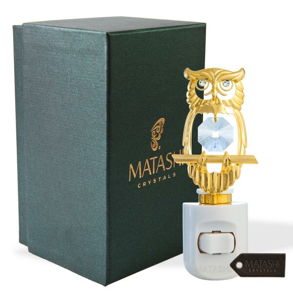24K Gold Plated Crystal Studded Owl LED Night Light by Matashi Crystal