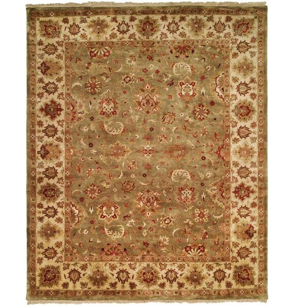 Nelson Hand-Woven Green/Ivory Area Rug by Meridian Rugmakers