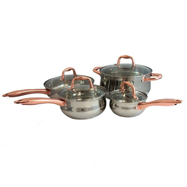 Branson 8 Piece Stainless Steel Cookware Set with Handle by Sunbeam