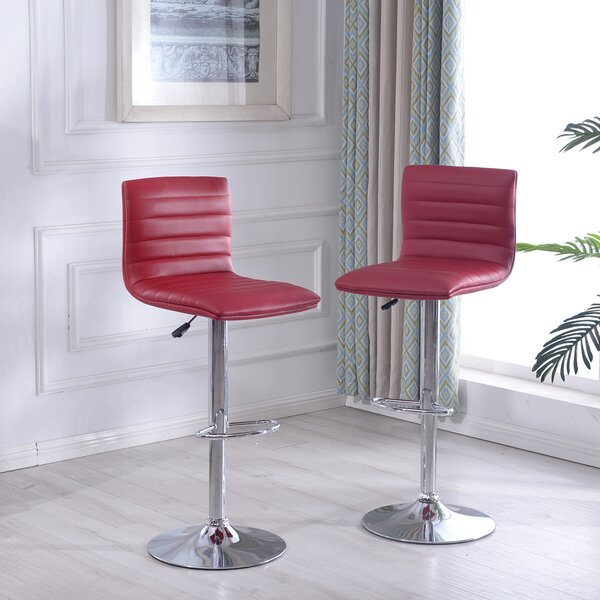 Morley Adjustable Height Swivel Bar Stool (Set of 2) by Orren Ellis