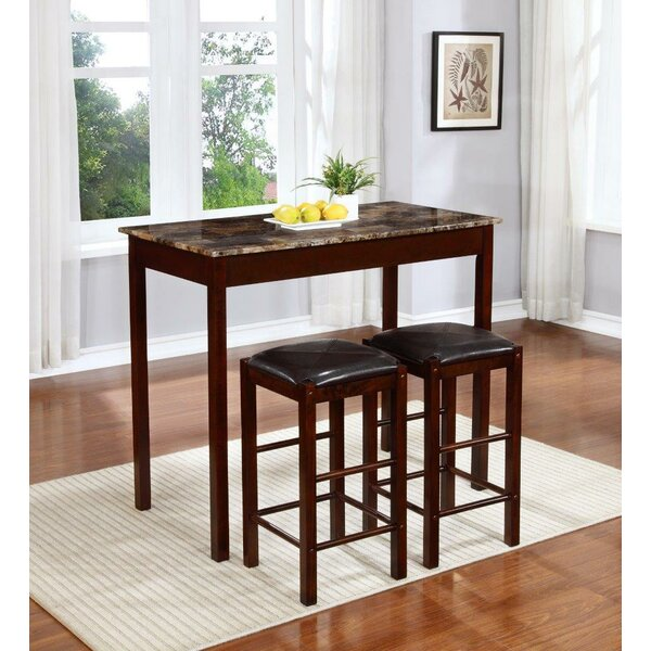 Rockford 3 Piece Faux Marble Counter Height Pub Table Set by Winston Porter