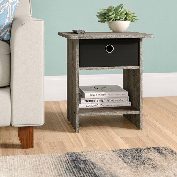 Pelkey Storage Shelf with Bin Drawer End Table (Set of 2) by Latitude Run