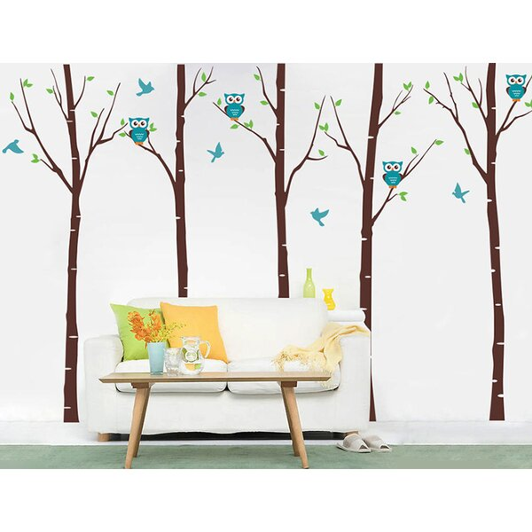 Five Birch Trees with Owls Wall Decal by Pop Decors