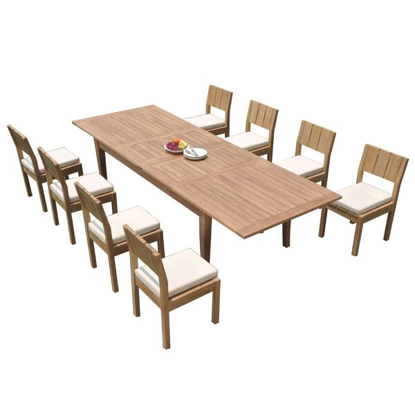 Lyndhur 9 Piece Teak Dining Set by Rosecliff Heights