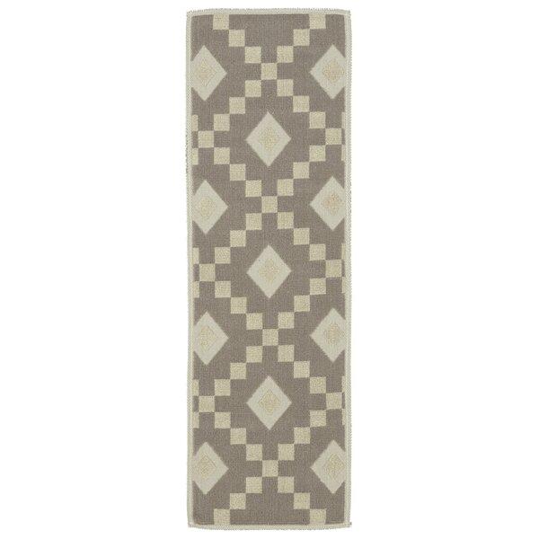 Heim Nature Cotton Diamond Trellis Brown/Cream Area Rug by Wrought Studio