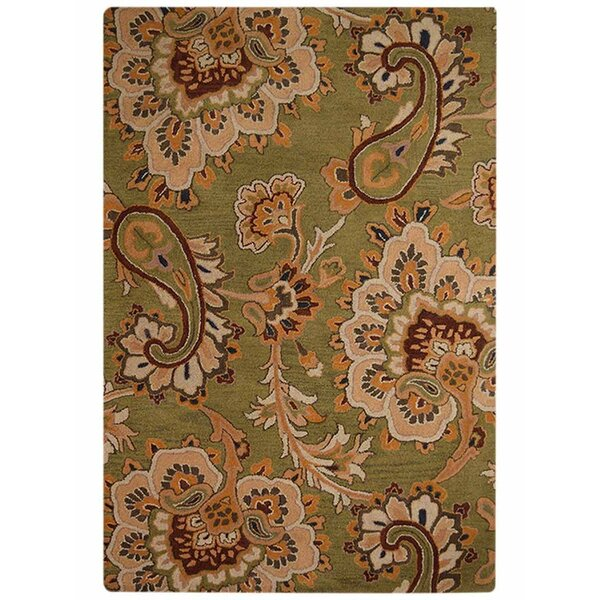 Mcknight Floral Hand-Tufted Wool Green/Brown/Orange Area Rug by Three Posts