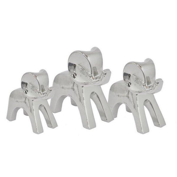 Ceramic Elephant 3 Piece Figurine Set by Three Hands Co.