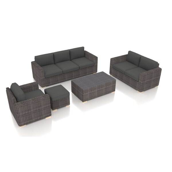 Holcomb 5 Piece Rattan Sofa Seating Group with Sunbrella Cushions by Rosecliff Heights