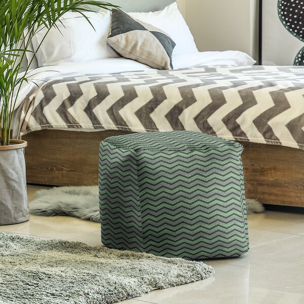 Wavy Chevrons Cube Ottoman by East Urban Home