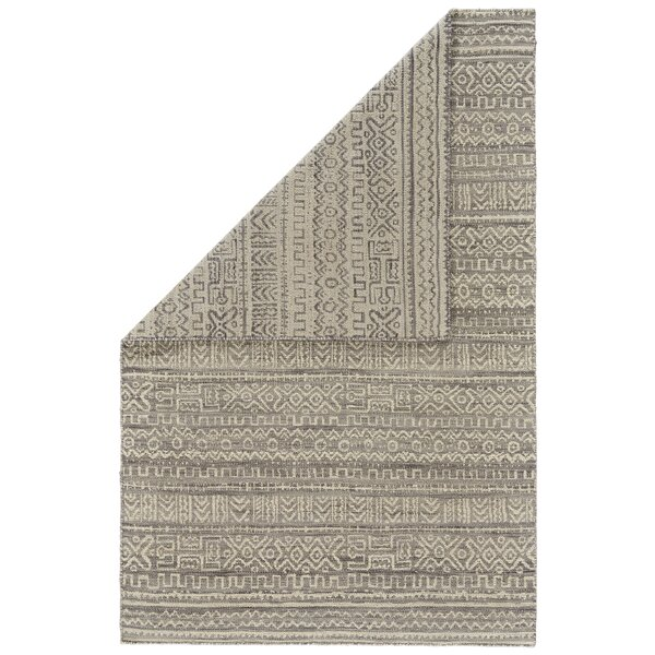 Reiber Hand-Woven Wool White/Gray Area Rug by Bloomsbury Market