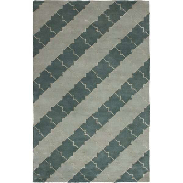 Helton Hand-Tufted Light Gray/Teal Area Rug by Mercer41