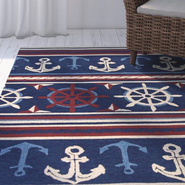 Fairbanks Hand-Hooked Navy Indoor/Outdoor Area Rug by Beachcrest Home