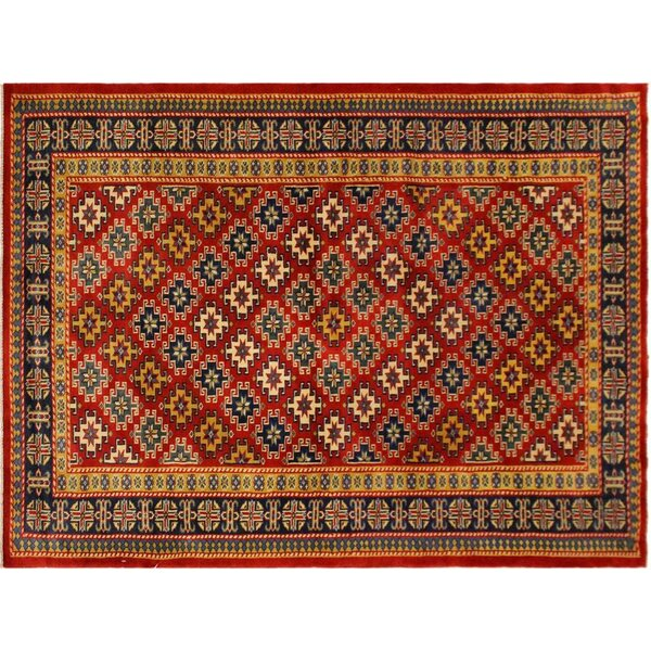 One-of-a-Kind Abrams Hand-Knotted Red/Blue Area Rug by Isabelline